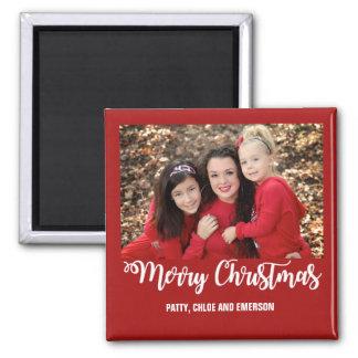 Familien-Foto-frohe Weihnacht-Magnet-Gruß-Karte Quadratischer Magnet