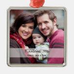 Familien-Foto-Verzierungen Quadratisches Silberfarbenes Ornament