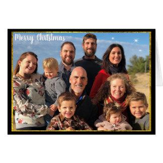Familien-Foto-Weihnachtsbuchstabe-Goldtafel Karte