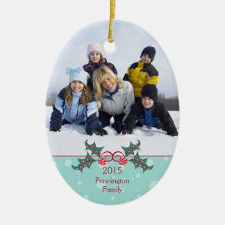 Familien-Fotoverzierung der Weihnachtsstechpalme Weihnachtsbaum Ornament
