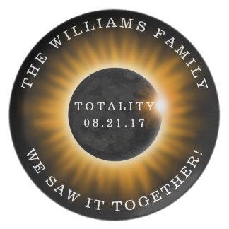 Familien-Gesamtheits-Solareklipse personalisiert Melaminteller