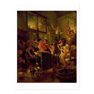 Familien-Mahlzeit (Öl auf Leinwand) Postkarte