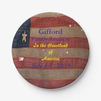 Familien-Wiedersehen-Antike USA-Flagge patriotisch Pappteller