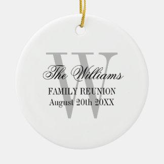 Familien-Wiedersehenmonogramm Rundes Keramik Ornament