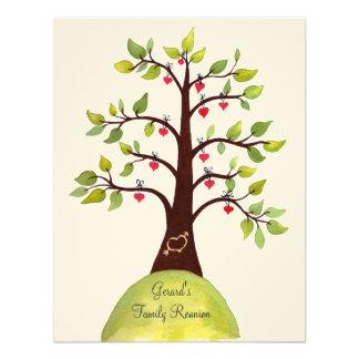 Familien-Wiedersehenwatercolor-Herz-Baum laden ein Einladung