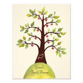 Familien-Wiedersehenwatercolor-Herz-Baum laden ein 10,8 X 14 Cm Einladungskarte