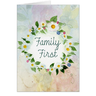 Familien-zuerst inspirierend Zitat Karte