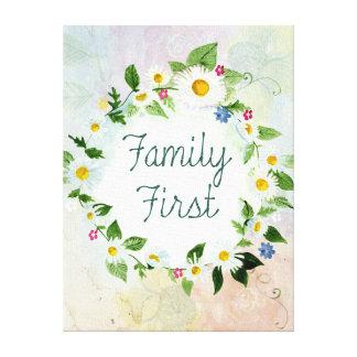Familien-zuerst inspirierend Zitat Leinwanddruck