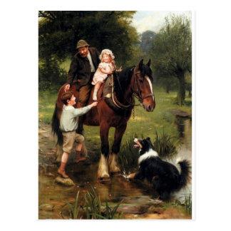 Familienkindercolliehundepferdejungenmädchen Postkarte