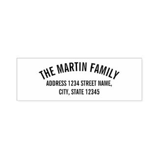 Familienname-mutige gebogene Text-Rücksendeadresse Permastempel