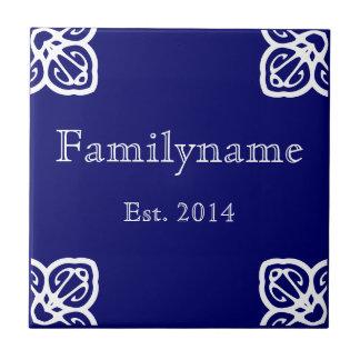 Familienname - spanisches Weiß auf Blau Kleine Quadratische Fliese
