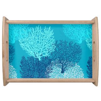 Fan-korallenrotes Druck-, Türkis-, Aqua-und Serviertablett