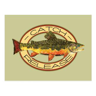 Fang-und Freigabe-Fischen Postkarte