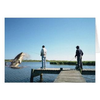 Fangen einer Haifisch-Gruß-Karte Grußkarte