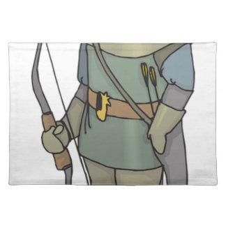 Fantasie-Bogenschütze-Mann-Bogen-Pfeil Tischset