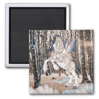 Fantasie Clydesdale Pferdefee Quadratischer Magnet