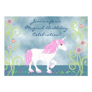 Fantasie-Einhorn-Geburtstags-Einladung für Mädchen