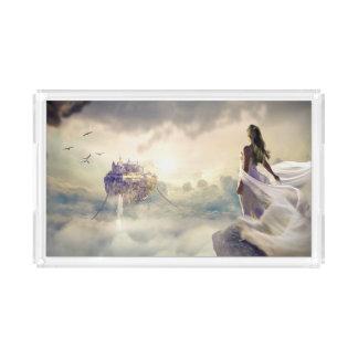 Fantasie-Frau und Insel-Schloss in den Wolken Acryl Tablett