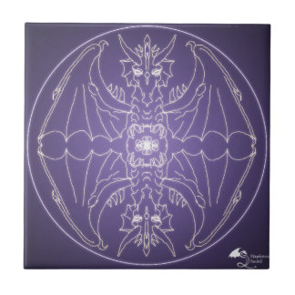 Fantasie Goth Mandala-Drache-Kristallball Fliese