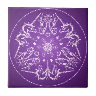 Fantasie Goth Mandala-Einhorn-Drache-Kristallball Keramikfliese