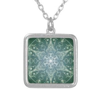 Fantasie Goth Mandala-Grün-Elf-Kristallball Versilberte Kette