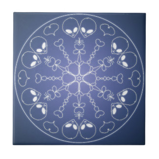 Fantasie Goth Mandala UND alien-Kristallball Keramikfliese