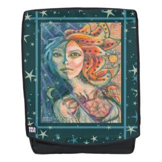 Fantasie-Göttin-Rucksack mit Sunmond und -sternen Rucksack