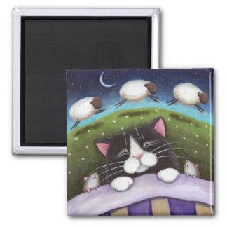 Fantasie-Katzen-und Mäusekunst-Magnet Quadratischer Magnet