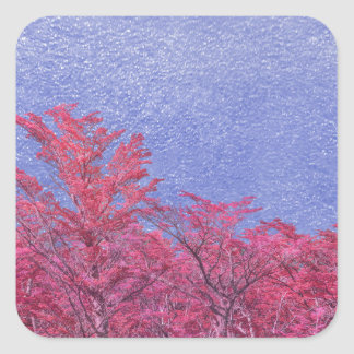 Fantasie-Landschaftsthema-Plakat Quadratischer Aufkleber