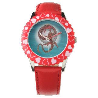 Fantasie-östlicher roter Drache Uhr