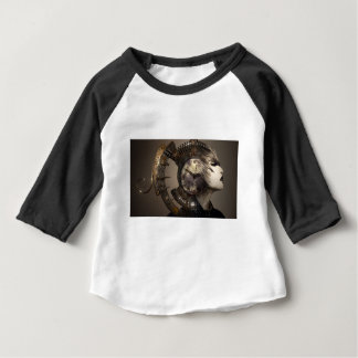 Fantasie-Porträt-surreale Frauen-Helm-Uhr Baby T-shirt