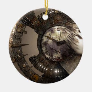 Fantasie-Porträt-surreale Frauen-Helm-Uhr Keramik Ornament