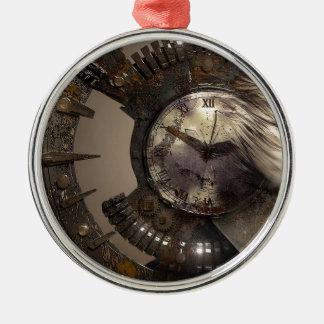 Fantasie-Porträt-surreale Frauen-Helm-Uhr Silbernes Ornament