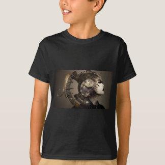 Fantasie-Porträt-surreale Frauen-Helm-Uhr T-Shirt