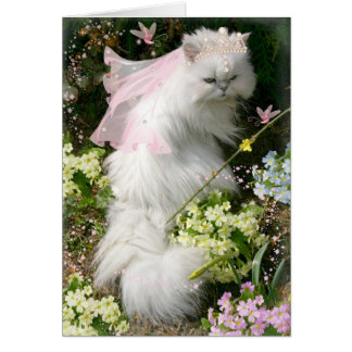 FANTASIE-PRINZESSIN CAT IN FLOWER GARDEN KARTE
