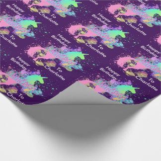 Fantasie-RegenbogenUnicorn personalisiert Geschenkpapier