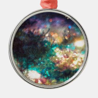 Fantasie-sternenklarer Wald 5 Silbernes Ornament
