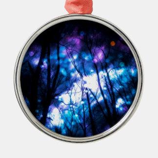 Fantasie-sternenklarer Wald 7 Silbernes Ornament