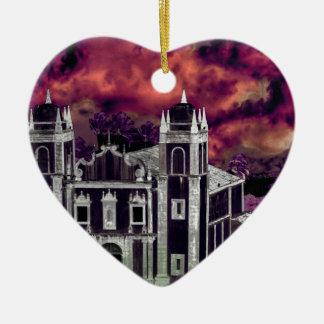 Fantasie-tropisches Stadtbild-Luftaufnahme Keramik Herz-Ornament