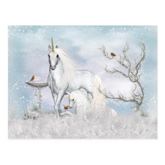 Fantasie-Winter-Einhorn und Fohlen-Postkarte Postkarte