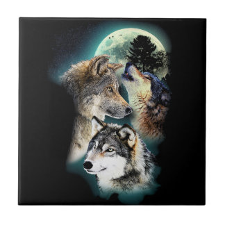Fantasie-Wolf-Mond-Berg Keramikfliese