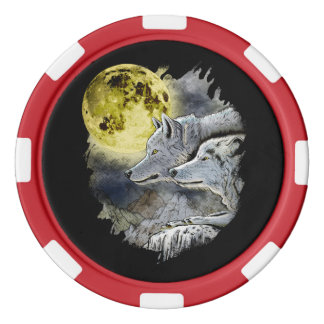 Fantasie-Wolf-Mond-Berg Poker Chips