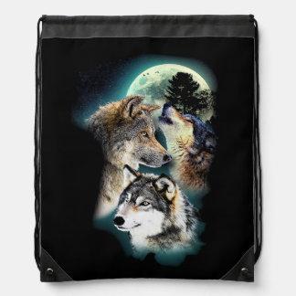 Fantasie-Wolf-Mond-Berg Sportbeutel