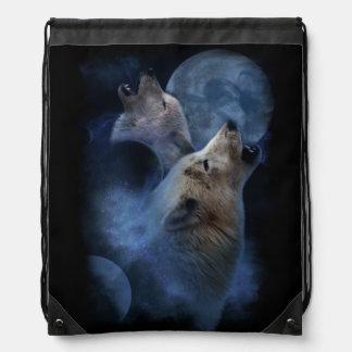Fantasie-Wolf-Mond-Berg Turnbeutel