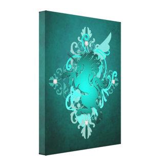 Fantasieaquamariner Unicorn-bezaubernder Leinwand- Gespannte Galeriedrucke