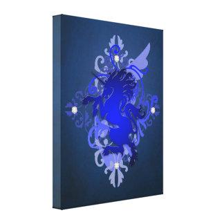 Fantasieblauer Unicorn-bezaubernder Leinwand-Druck Galerie Falt Leinwand