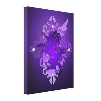 Fantasielila Unicorn-bezaubernder Leinwand-Druck Gespannter Galeriedruck