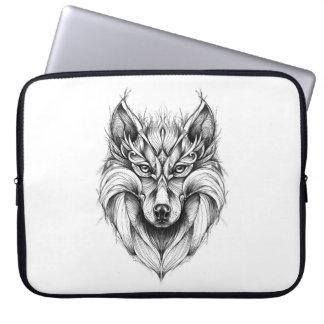 Fantasiezeichnen eines Wolfs auf Laptophülse Laptopschutzhülle