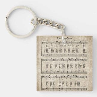 Fantastische Anmut-Vintage Hymnen-Blatt-Musik Schlüsselanhänger