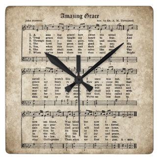 Fantastische Anmut-Vintage Hymnen-Blatt-Musik-Uhr Quadratische Wanduhr